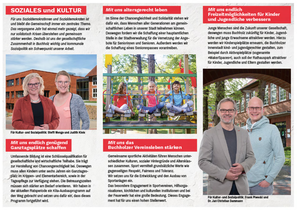 Flyer der SPD zur Soziales und Kultur